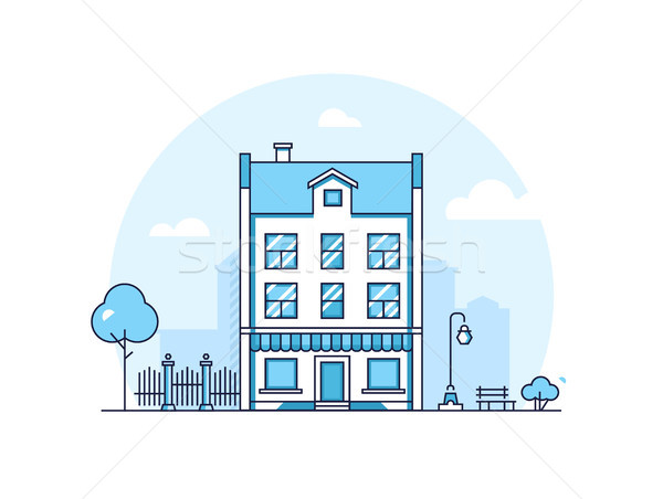 City building - modern thin line design style vector illustration Stock photo © Decorwithme