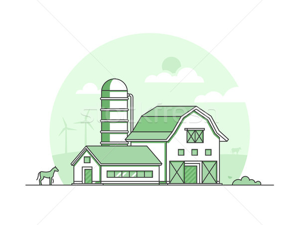 Village - modern thin line design style vector illustration Stock photo © Decorwithme