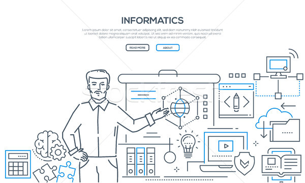 Informatics - modern colorful line design style banner Stock photo © Decorwithme