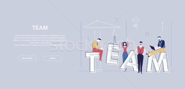Team work - flat design style colorful banner Stock photo © Decorwithme