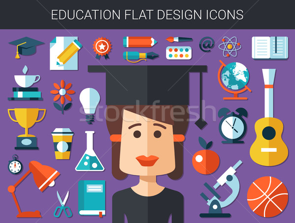 Stockfoto: Ingesteld · moderne · onderwijs · ontwerp · vector