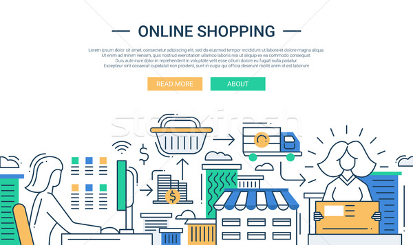 Stock photo: Online shopping line flat design banner with a purchase process
