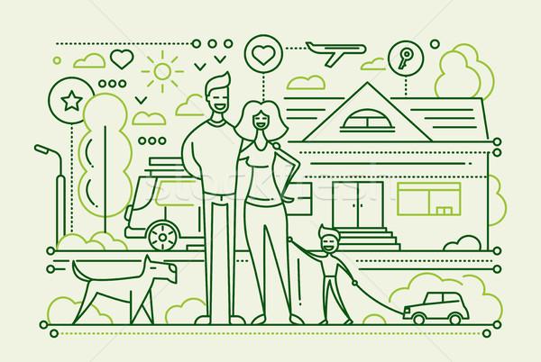Vida familiar linha projeto vetor moderno simples Foto stock © Decorwithme