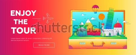 Enjoy the Tour - vector line travel web page header illustration Stock photo © Decorwithme