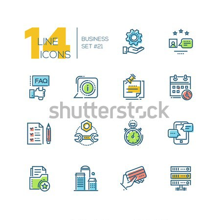 Business - colored modern single line icons set Stock photo © Decorwithme