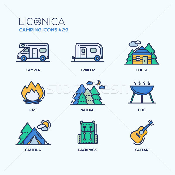 Camping Time - modern vector icons set. Stock photo © Decorwithme