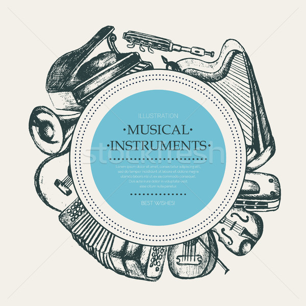 Musical Instruments - hand drawn round banner template. Stock photo © Decorwithme