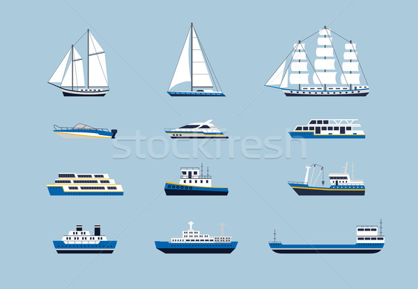 Water Transport - modern vector flat design icons set Stock photo © Decorwithme