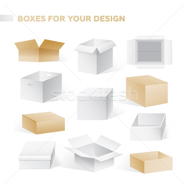 Boxes - realistic vector set of cardboard containers clip art Stock photo © Decorwithme