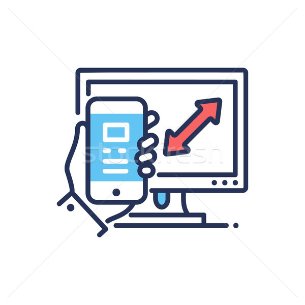 Responsive Design - modern vector line design icon. Stock photo © Decorwithme