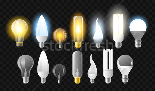 Set of light bulbs - realistic vector isolated clip art Stock photo © Decorwithme
