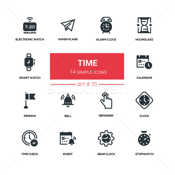 Time concept - line design silhouette icons set Stock photo © Decorwithme