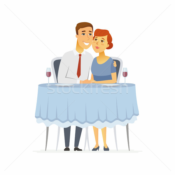 Happy couple in a restaurant - cartoon people character isolated illustration Stock photo © Decorwithme