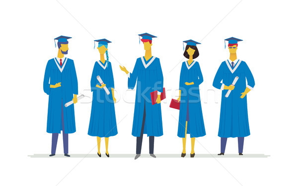 Happy graduating students - flat design style colorful illustration Stock photo © Decorwithme