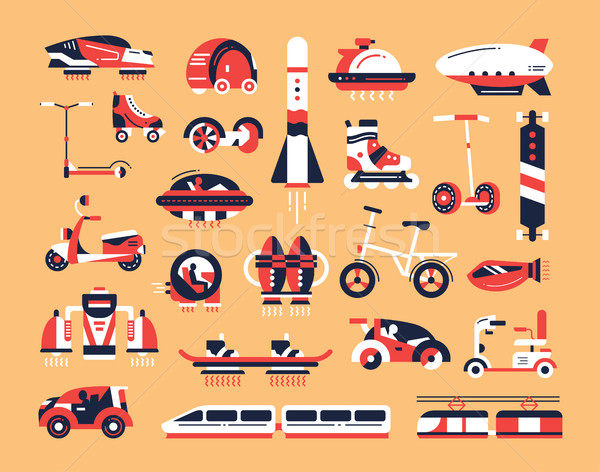 Transport - flat design icons set Stock photo © Decorwithme
