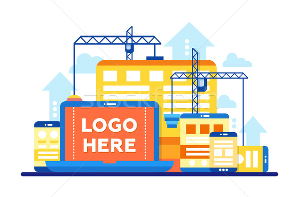 Programming Tools - flat design illustration with copyspace for Logo Stock photo © Decorwithme