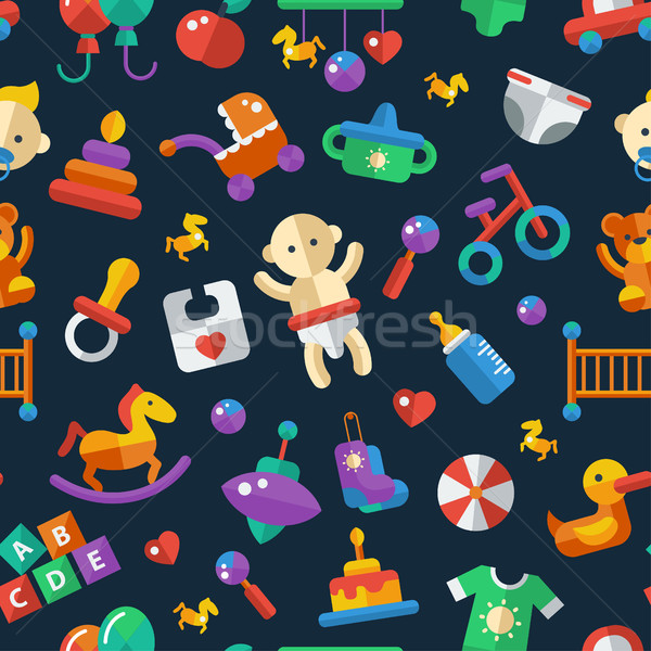 Illustration of flat design cute baby pattern with icons Stock photo © Decorwithme