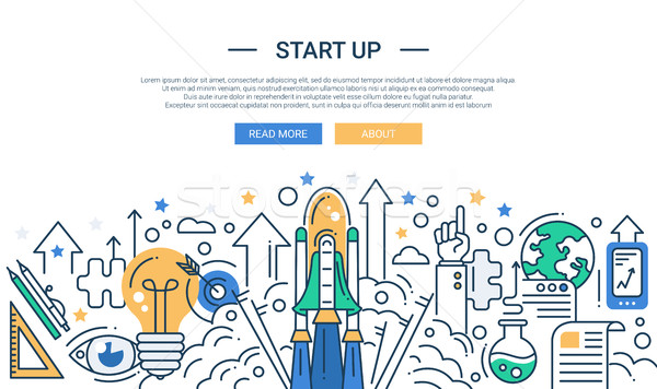 Illustration of modern start up line flat design composition and infographics elements with a shuttl Stock photo © Decorwithme
