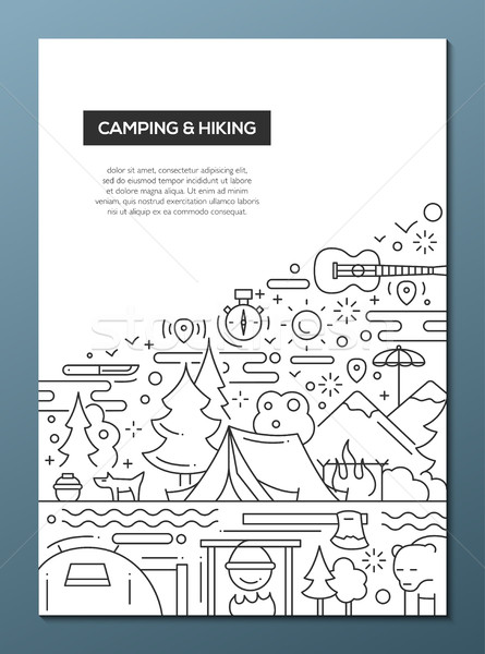 Camping caminhadas linha projeto folheto cartaz Foto stock © Decorwithme