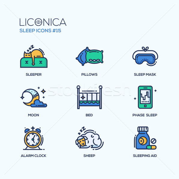 Sleep - coloured modern single line icons set Stock photo © Decorwithme