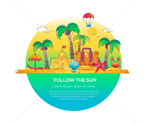 Follow the Sun - vector line travel illustration Stock photo © Decorwithme