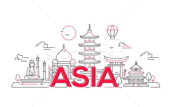 Asie vecteur ligne Voyage illustration modernes Photo stock © Decorwithme
