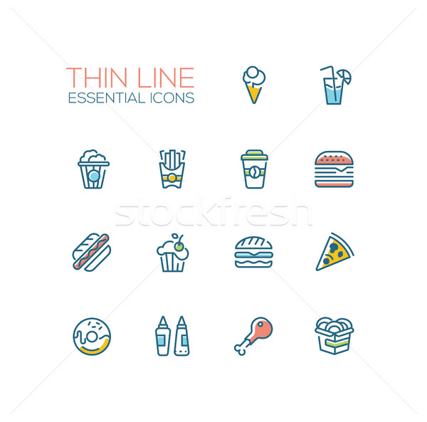 Fast Food Cafe Menu Icons Set Stock photo © Decorwithme