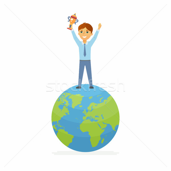 School Contest Winner - happy boy on the globe holding cup Stock photo © Decorwithme