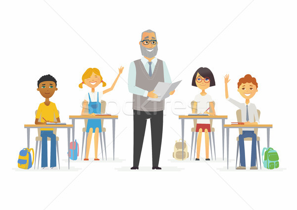 Lesson at school - cartoon people characters illustration Stock photo © Decorwithme