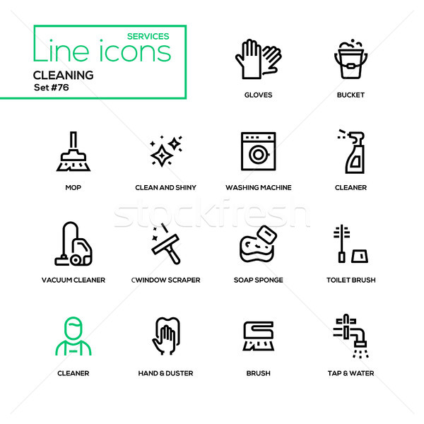 Cleaning - line design icons set Stock photo © Decorwithme
