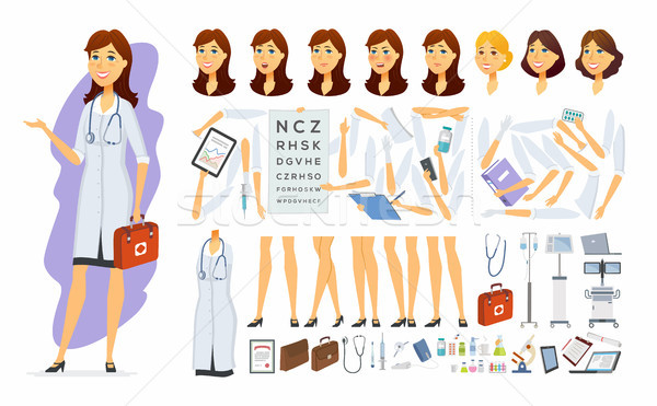 Female doctor - vector cartoon people character constructor Stock photo © Decorwithme