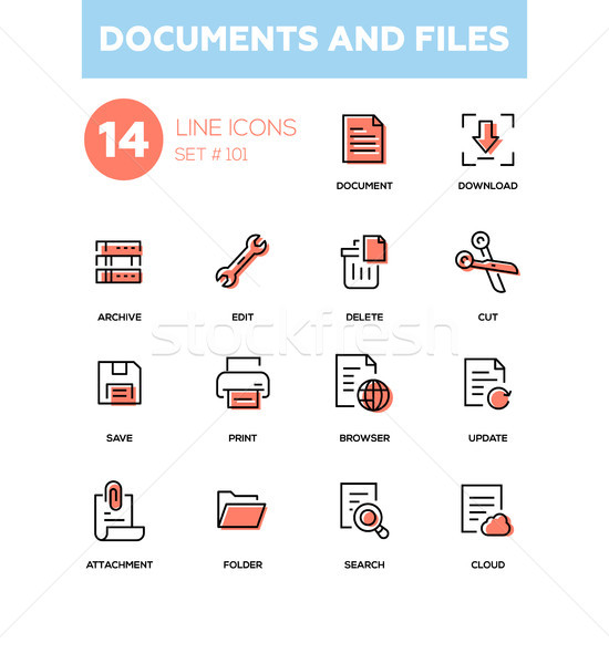 Documents and files - modern line design icons set Stock photo © Decorwithme