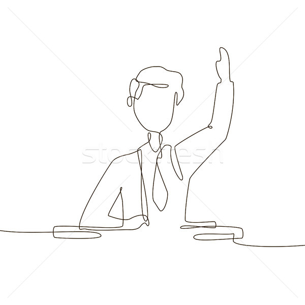 Boy at the lesson - one line design style illustration Stock photo © Decorwithme