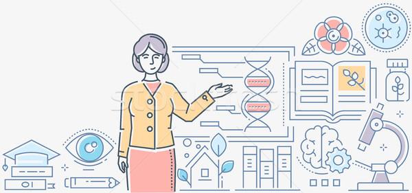 Biologie les kleurrijk lijn ontwerp stijl Stockfoto © Decorwithme