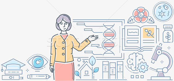 Biológia lecke színes vonal terv stílus Stock fotó © Decorwithme