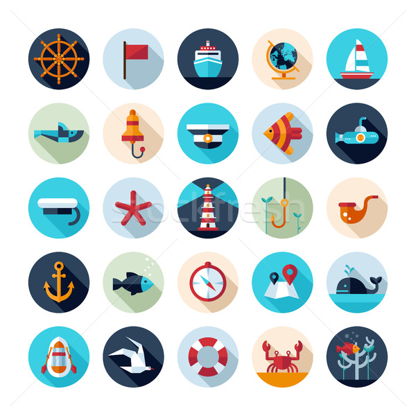 Establecer vintage diseno moderna náutico marinos Foto stock © Decorwithme