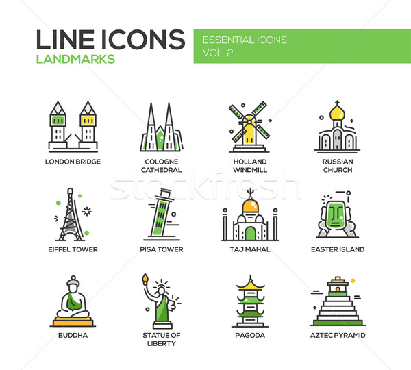 World landmarks icons set Stock photo © Decorwithme
