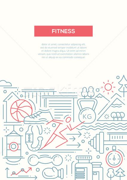 Fitness linha projeto moderno vetor simples Foto stock © Decorwithme