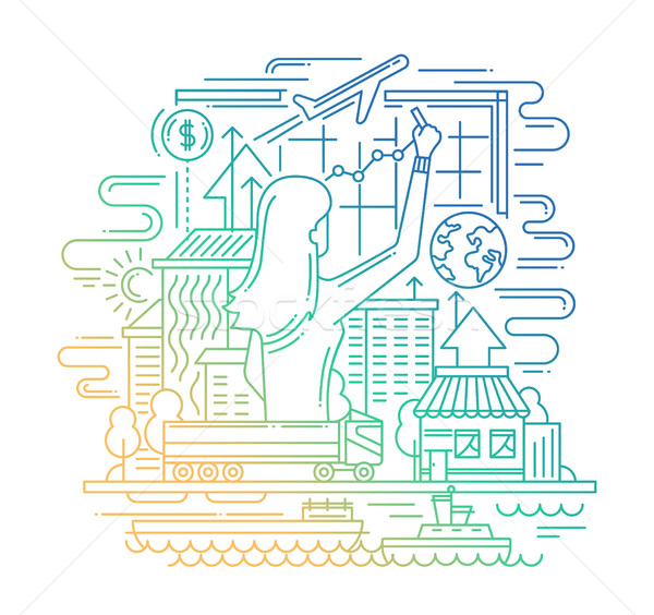 Planning process line flat design banner with woman drawing diagram. Stock photo © Decorwithme