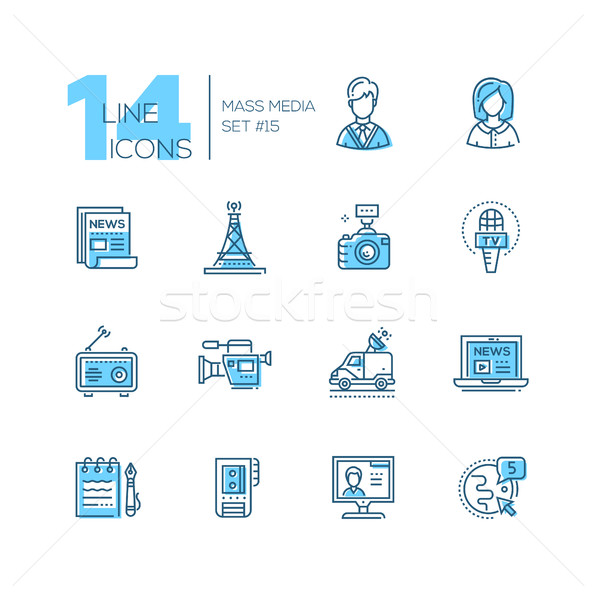 Mass media - modern single line icons set Stock photo © Decorwithme