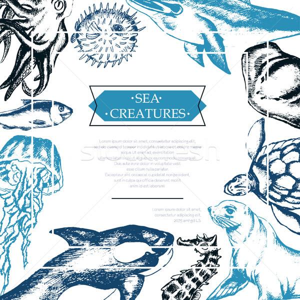 Sea Creatures - color vintage postcard template. Stock photo © Decorwithme
