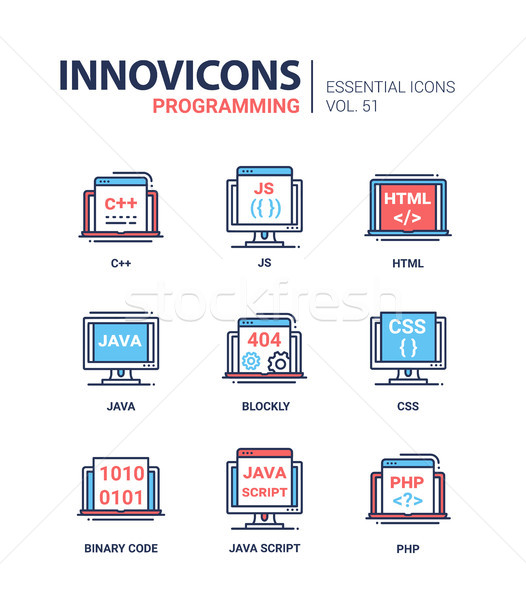 Programming - modern vector line icons set. Stock photo © Decorwithme