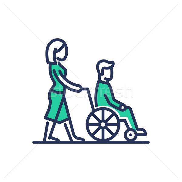 Niepełnosprawnych ludzi pomoc nowoczesne wektora line Zdjęcia stock © Decorwithme