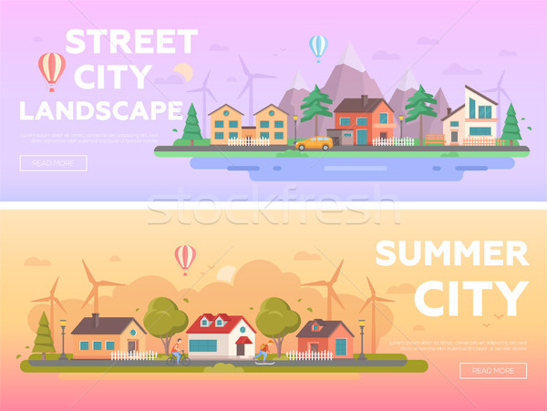 City landscape - set of modern flat vector illustrations Stock photo © Decorwithme