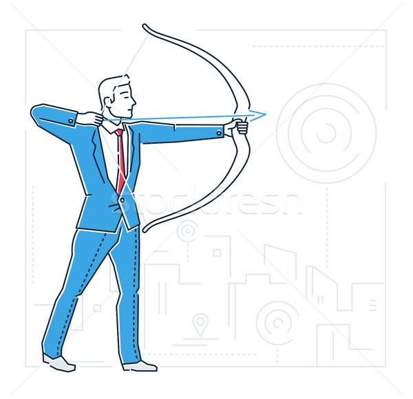 Goals setting - line design style isolated illustration Stock photo © Decorwithme