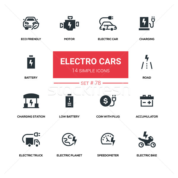 Electro cars - line design silhouette icons set Stock photo © Decorwithme