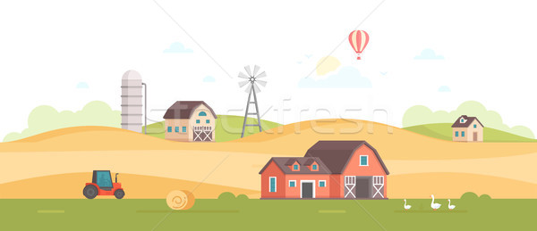 Countryside - modern flat design style vector illustration Stock photo © Decorwithme