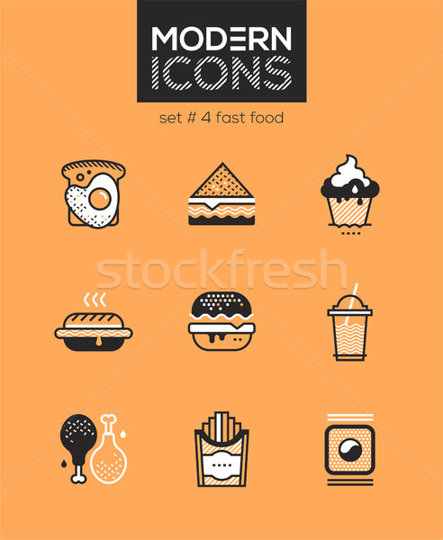 Fast food - set of line design style icons Stock photo © Decorwithme