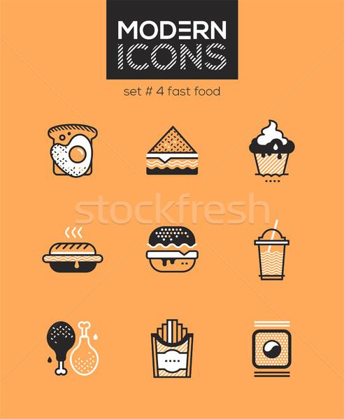 Fast-food conjunto linha projeto estilo ícones Foto stock © Decorwithme