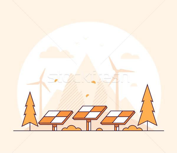 Megújuló energia vékony vonal terv stílus narancs Stock fotó © Decorwithme
